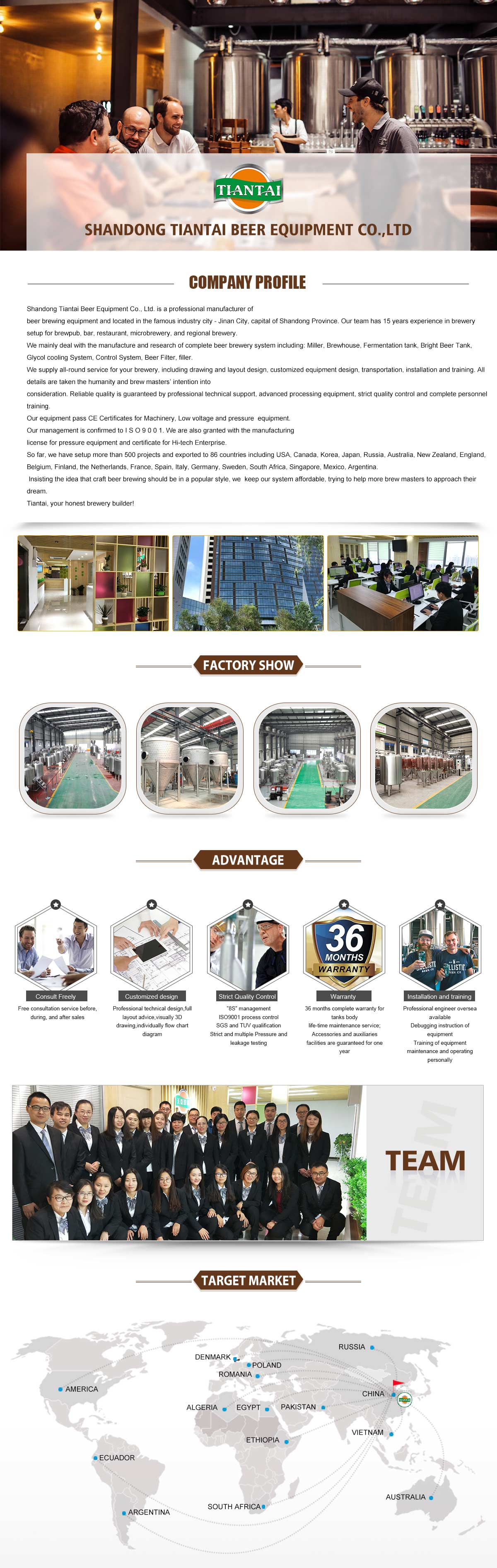 Tiantai Beer Equipment